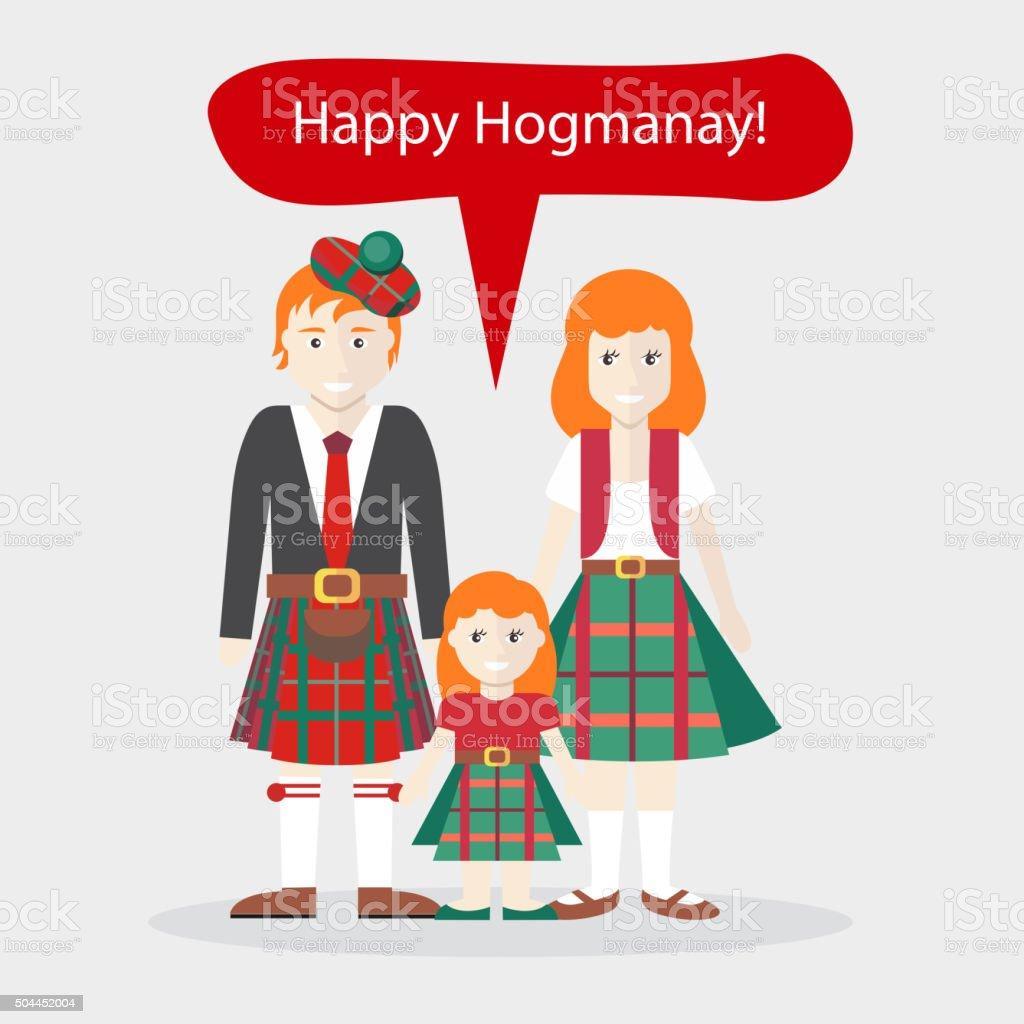 Scots Personen Glückwunsch Frohes Neues Jahr Stock Vektor Art und ...