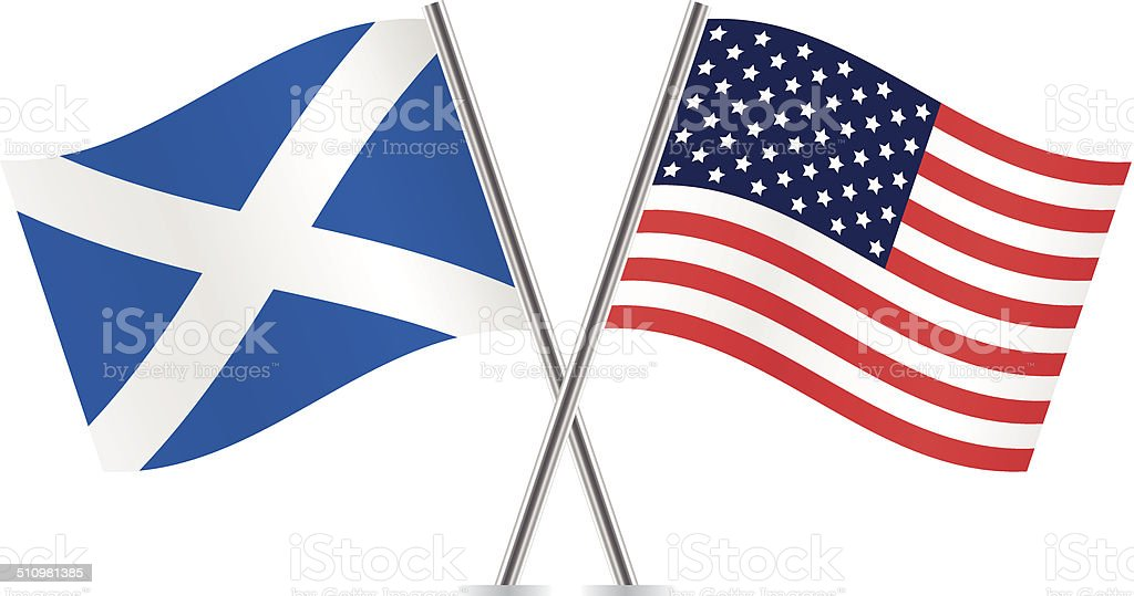 Scottish and American flags. Vector. vector art illustration