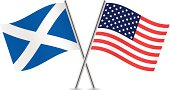 Scottish and American flags. Vector.