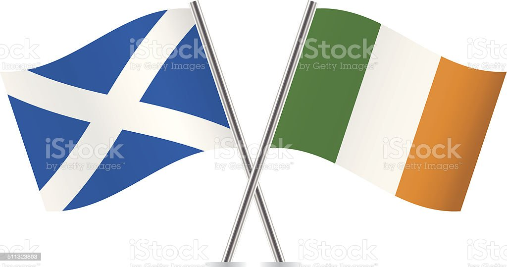 Bandera escocesa e Irlanda.  Vector. - ilustración de arte vectorial