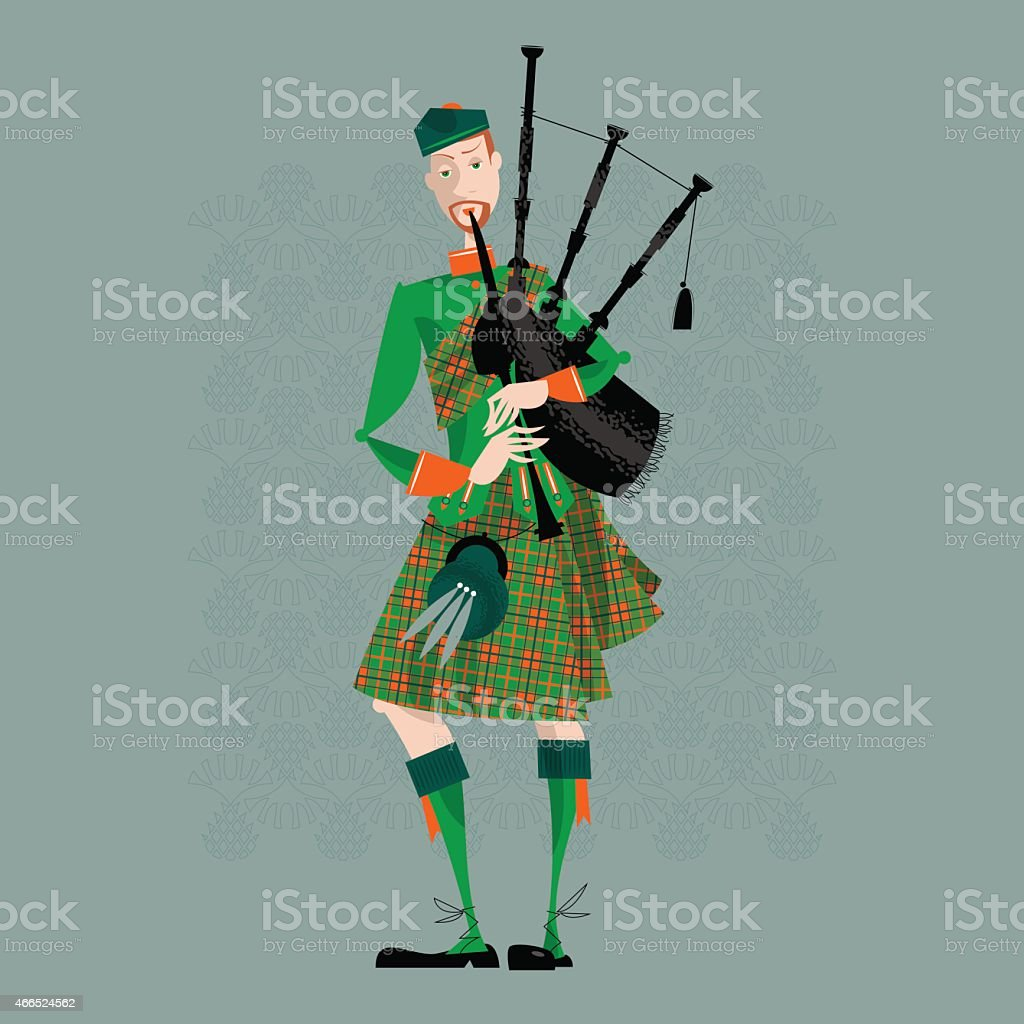 Scottish Bagpiper in uniform. Scottish tradition. vector art illustration