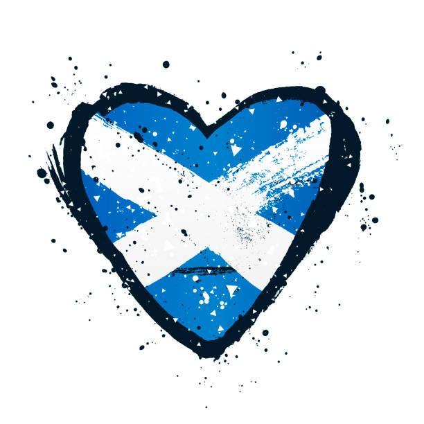 Schottische Flagge in Form eines großen Herzens. Vektorabbildung – Vektorgrafik