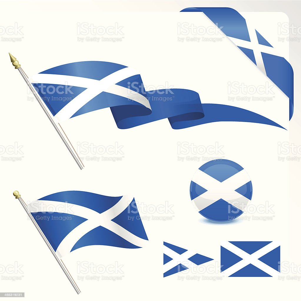 scottish flag set stock vector art 455319231 istock