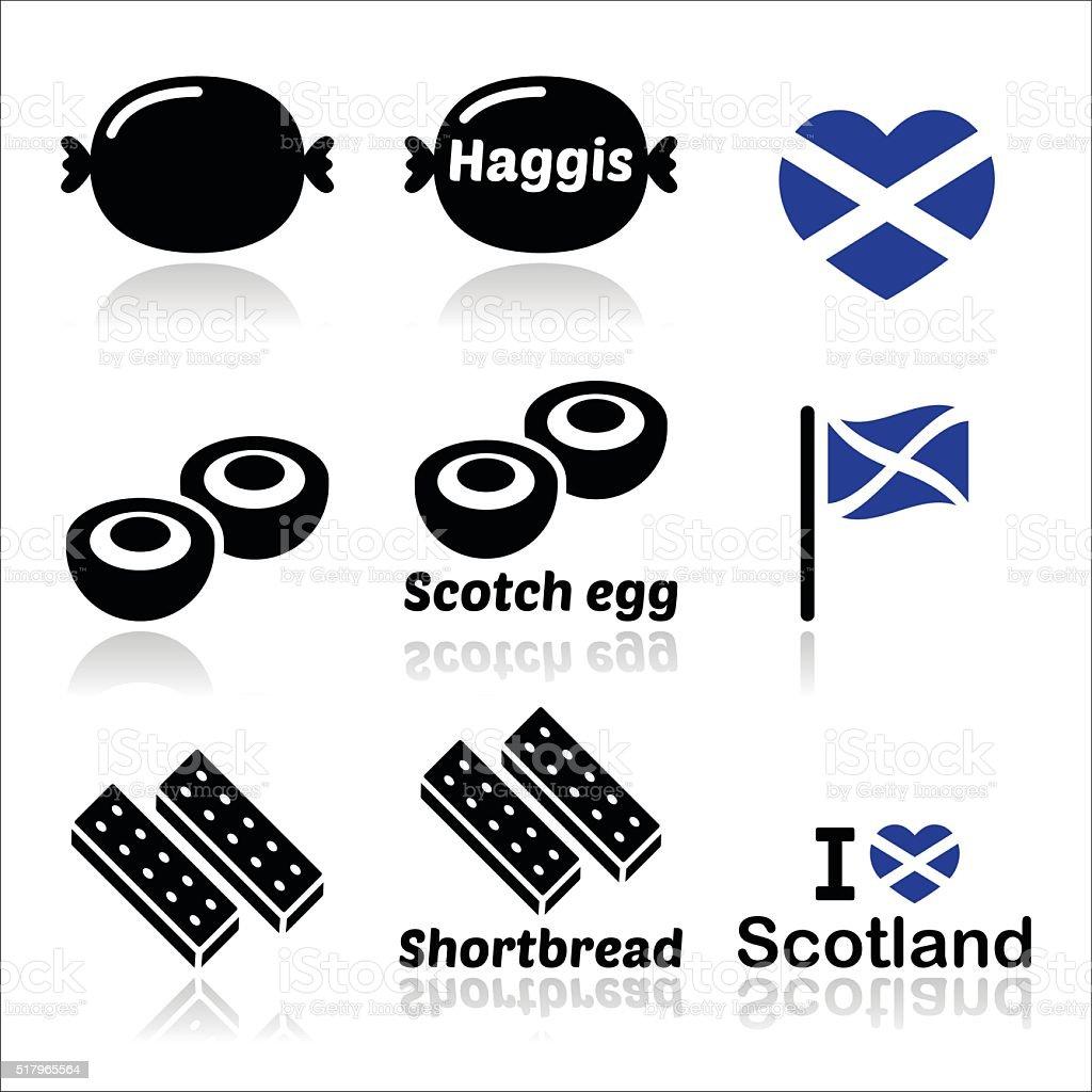Scottish food - Haggis, Scotch egg, Shortbread icons set vector art illustration