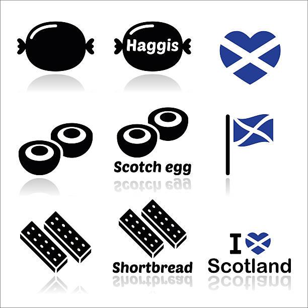 scottish food - haggis, scotch egg, shortbread icons set - haggis stock illustrations, clip art, cartoons, & icons