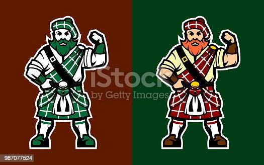 Brave Scottish Highlander character in kilt. Vector illustration of Scotsman in various color options