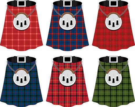 Scottish Kilts Stock Illustration - Download Image Now