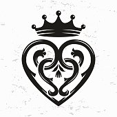 Scottish Luckenbooth brooch vector. queen Mary celtic heart with crown