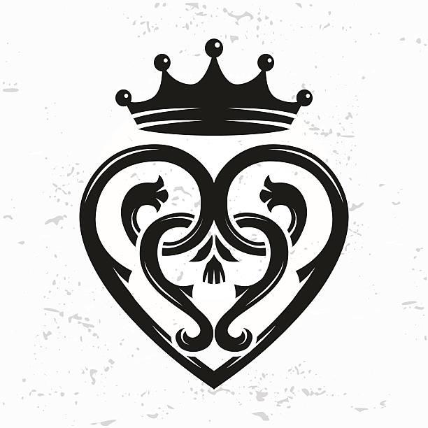 schottische luckenbooth brosche vektor. queen mary keltisches herz mit krone - hochzeitsanstecker stock-grafiken, -clipart, -cartoons und -symbole