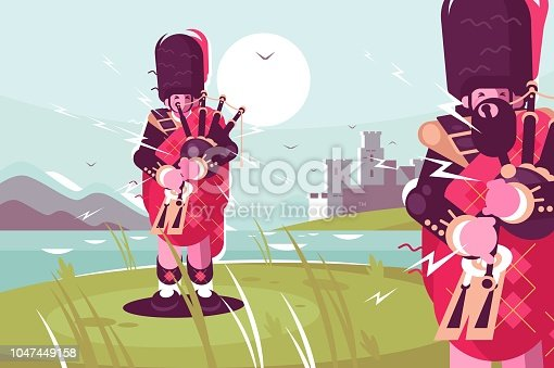 istock Scottish men bagpipers wearing traditional dress 1047449158