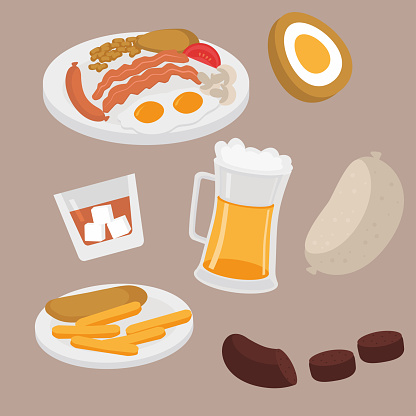 Scottish food and drink stock illustrations