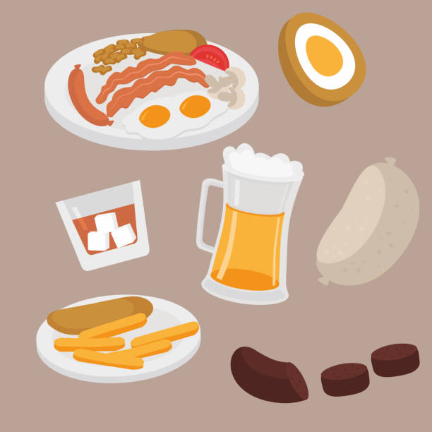 scottish plate with sausage, egg, becon, tomato, mushrooms and beans. edinburgh cafe menu. street food fish and chips. beer pub in scotland. whiskey, haggis and black pudding. - haggis stock illustrations, clip art, cartoons, & icons