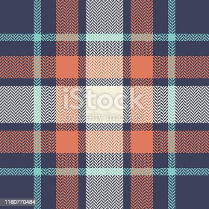 Scottish tartan plaid pattern. Multicolor check plaid in blue, orange, beige, and turquoise for modern fashion textile design. herringbone woven pixel texture.