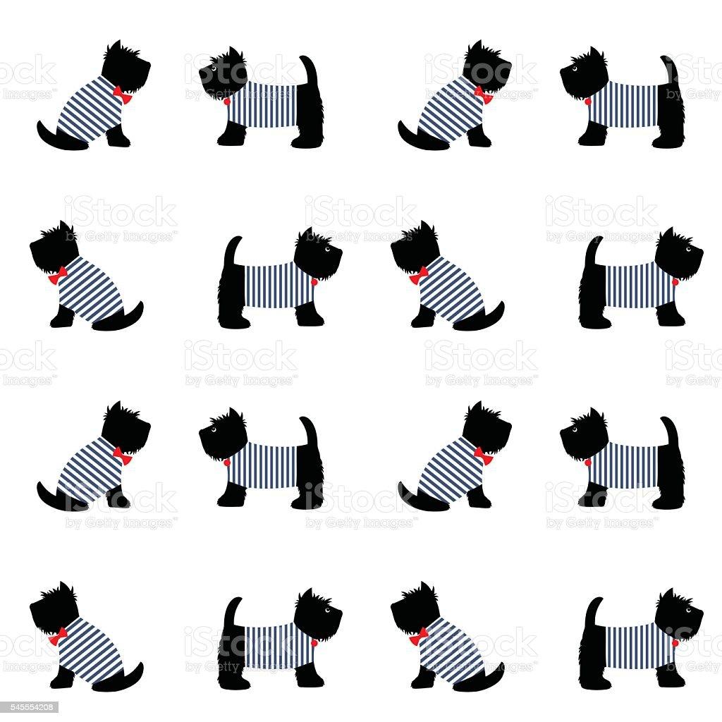 Scottish terrier in a sailor t-shirt seamless pattern. vector art illustration
