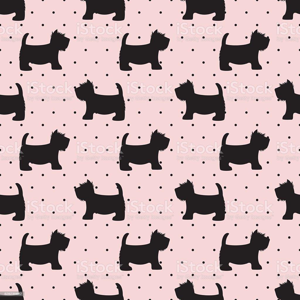 Scottish terrier seamless pattern. Dogs on pink polka dots background. vector art illustration