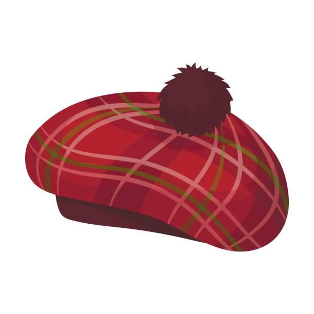 schottische traditionelle mütze symbol im cartoon-stil, die isoliert auf weißem hintergrund. schottland land symbol lager vektor-illustration. - hauben stock-grafiken, -clipart, -cartoons und -symbole