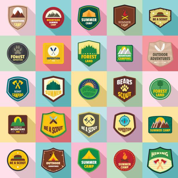 Scout badge emblem stamp icons set, flat style vector art illustration