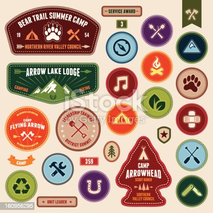 Set of scout badges and merit badges for outdoor activities.