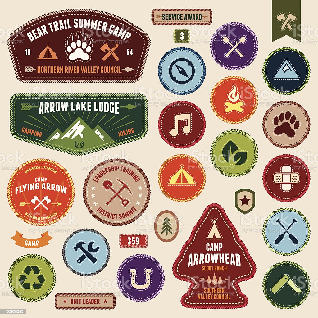 Scout badges vector art illustration
