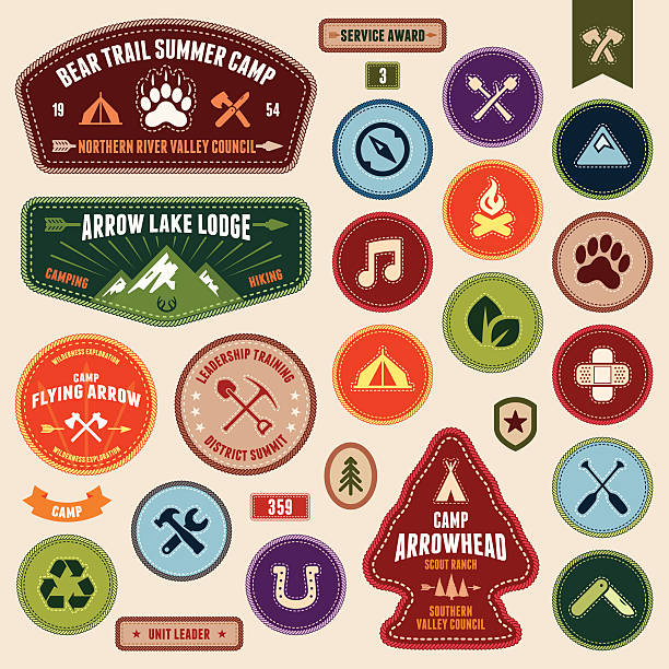 stockillustraties, clipart, cartoons en iconen met scout badges - gids