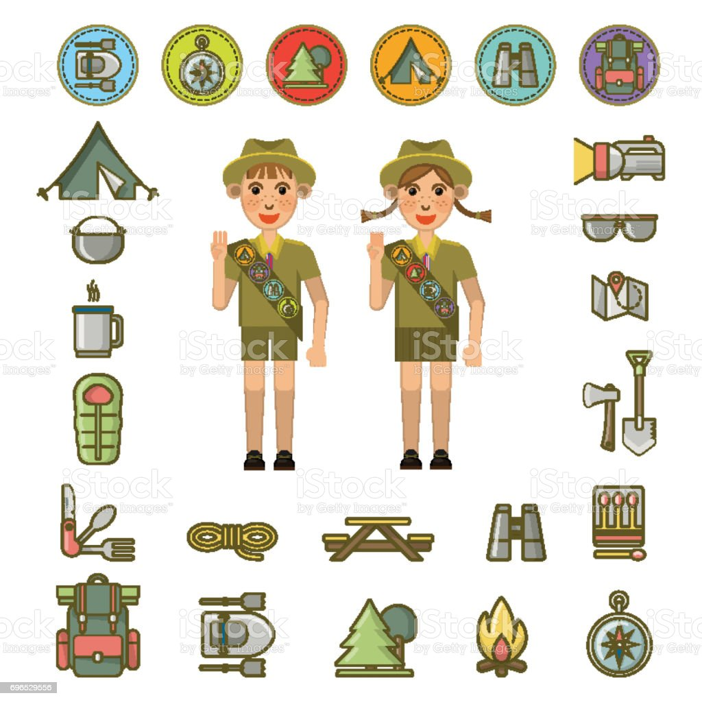Scout boy and girl and equipment signs around vector art illustration