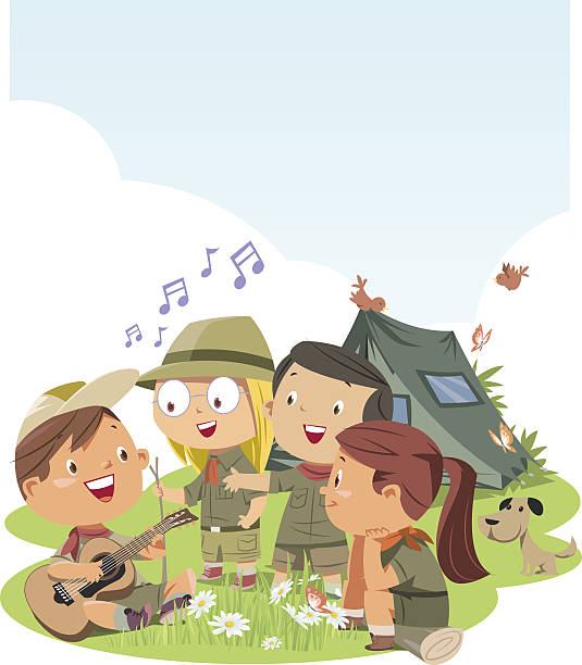Scout children vector art illustration