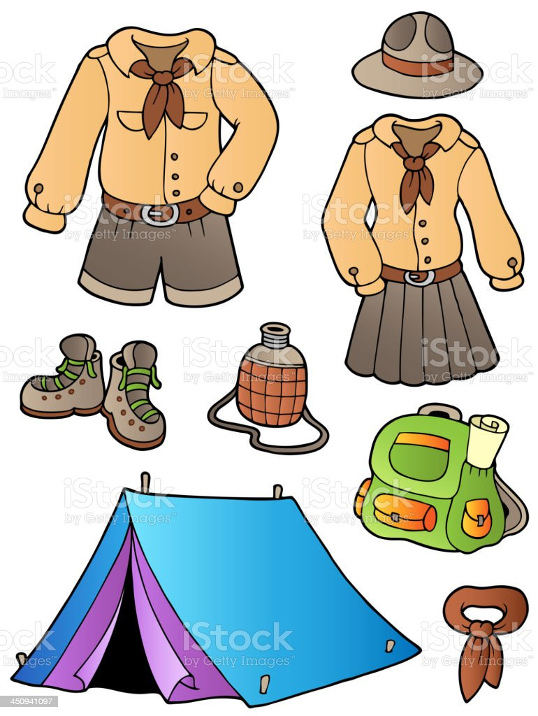 Scout clothes and gear collection royalty-free stock vector art