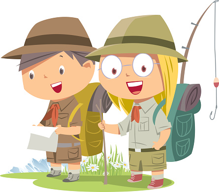 Scout girl and boy