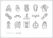 Set of 15 scout line icons for camping, exploring, hiking, vacation as well as boys and girls learning outdoor survival skills