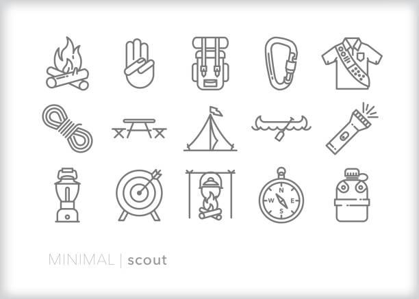 ilustrações de stock, clip art, desenhos animados e ícones de scout line icon set - camping