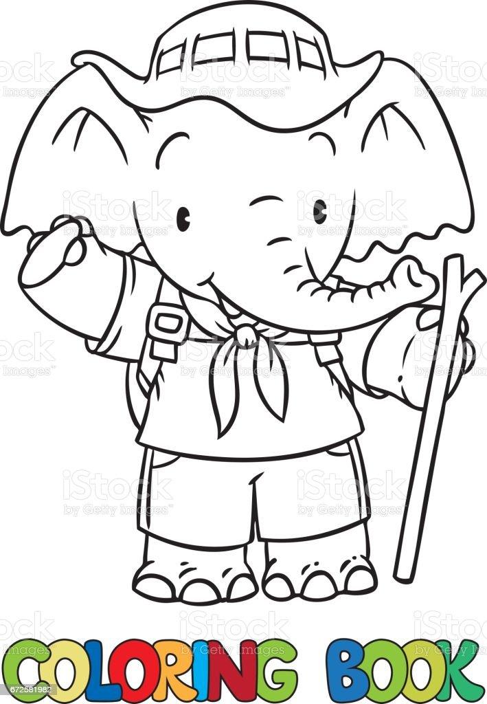 Coloriage Bebe Elephant.Scout Petit Bebe Elephant Livre De Coloriage Vecteurs Libres De