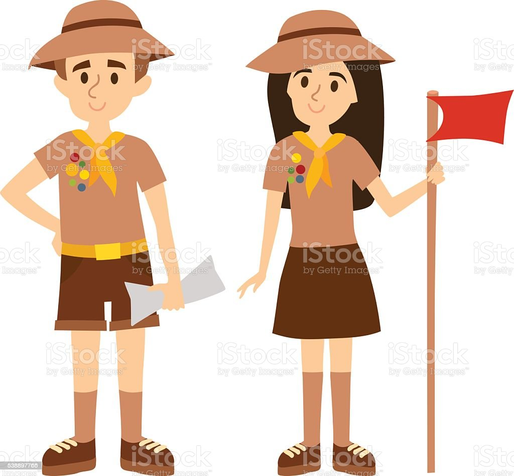 Scout people vector illustration. vector art illustration