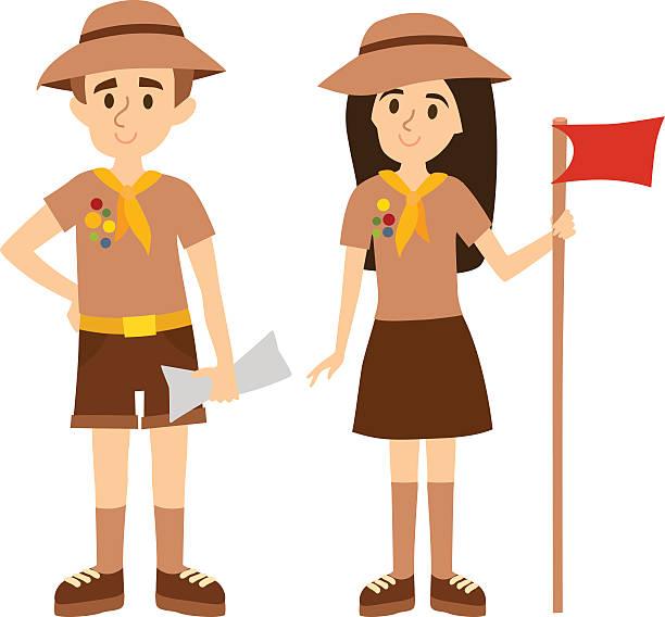 Scout people vector illustration. vector art illustration