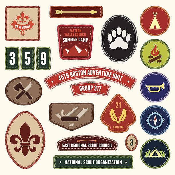 Scouting badges vector art illustration
