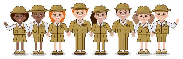 ilustrações, clipart, desenhos animados e ícones de escuteiros, escola de escuteiros, crianças de diferentes nacionalidades a forma de um batedor. vetor - orientador escolar
