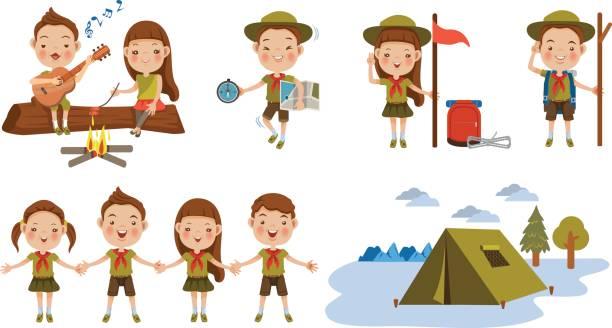 ilustrações, clipart, desenhos animados e ícones de scouts - explorador