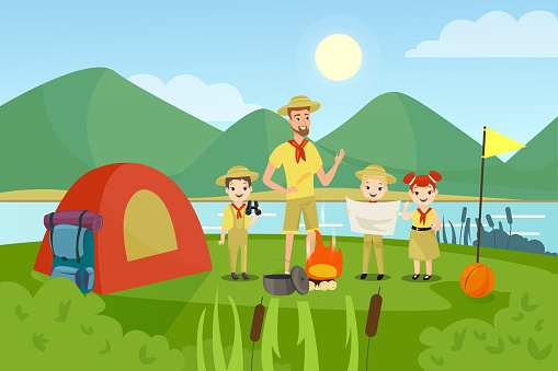 Scouts with teacher flat vector illustration. Camping, outing, summertime activity, recreation, outside leisure. Young campers, man and preschool children characters in cartoon style.
