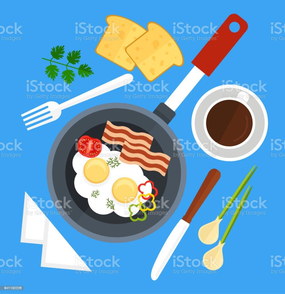 Astounding Guten Morgen Frühstück Sammlung Von Rührei Schale Gebraten In Der Pfanne Mit