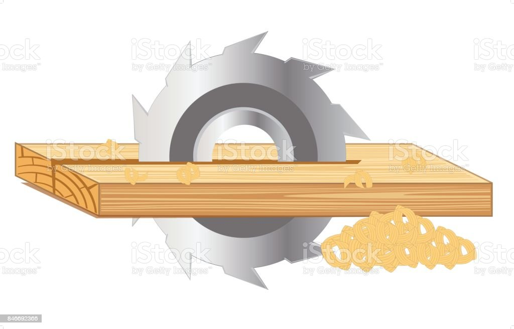 Scrap of the board by saw vector art illustration