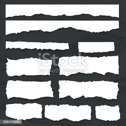 Scrap paper on a background of black chalkboard. Torn pieces of white sheet. Flat vector cartoon illustration. Objects isolated.