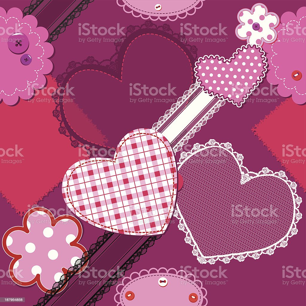 Scrap vintage hearts and laces - seamless pattern royalty-free stock vector art