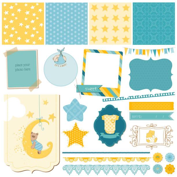 スクラップブック赤ちゃんのクマセット - 出産点のイラスト素材/クリップアート素材/マンガ素材/アイコン素材