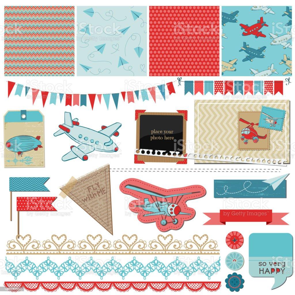 Álbum de recortes de elementos de diseño de bebé niño avión ilustración de  Álbum de recortes a47e107b3948