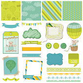Scrapbook Design Elements - Baby Bear with Airballoon