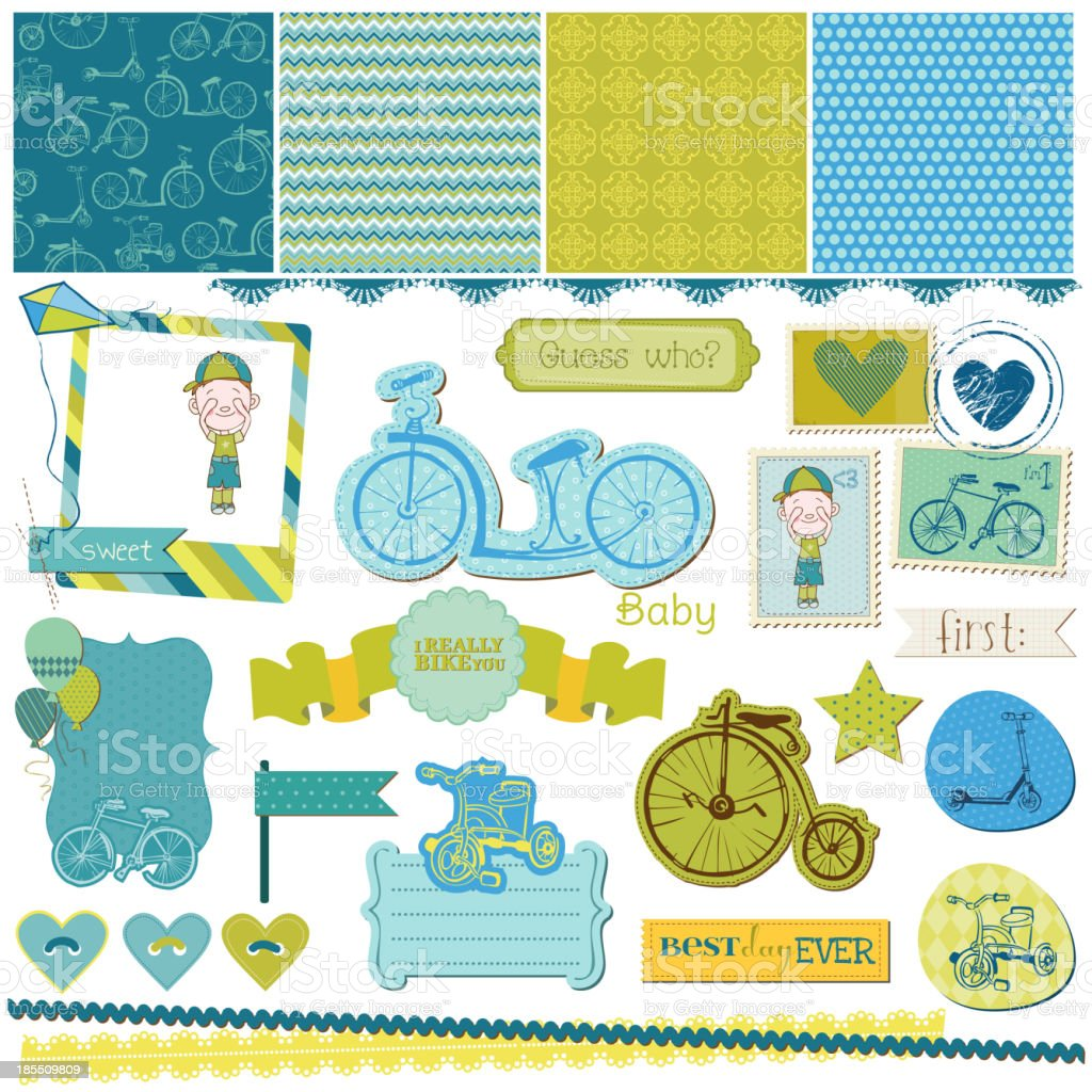 Scrapbook Design Elements - Baby Bicycle Set royalty-free stock vector art
