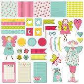 Scrapbook Design Elements - Baby Birthday Party Set