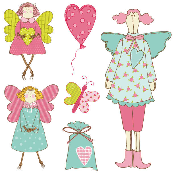 scrapbook-design-elemente-baby-doll-set - gartenengel stock-grafiken, -clipart, -cartoons und -symbole