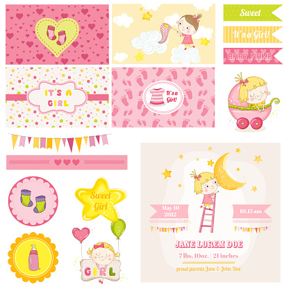 Scrapbook Design Elements - Baby Girl Shower Theme