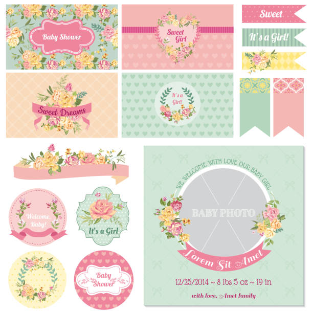 scrapbook-design-elemente-baby-dusche, blumen thema - tierfotografie stock-grafiken, -clipart, -cartoons und -symbole