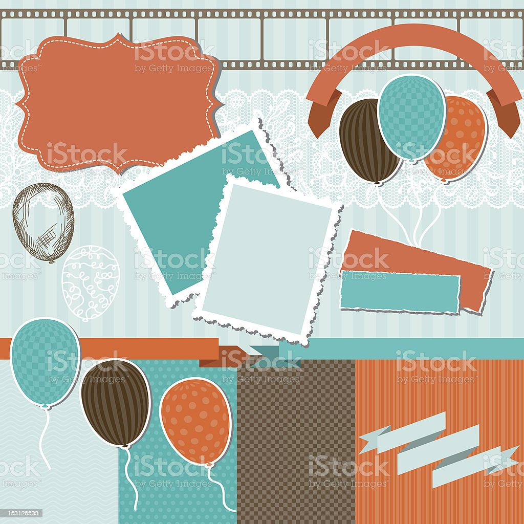 Scrapbook design elements - pattern, balloons and ribbons. royalty-free stock vector art